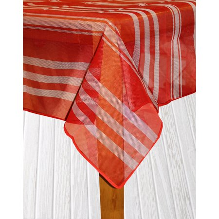 Bistro Stripe Indoor/Outdoor Table Cloth, Red