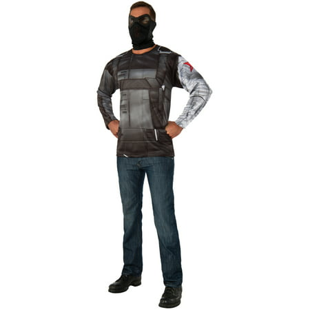 Mens Marvel Civil War Superhero Winter Soldier Shirt And Mask Costume - Marvel Superhero Costume