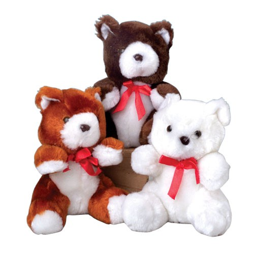 STUFFED TEDDY BEARS WITH RED RIBBONS, SOLD BY 3 DOZENS