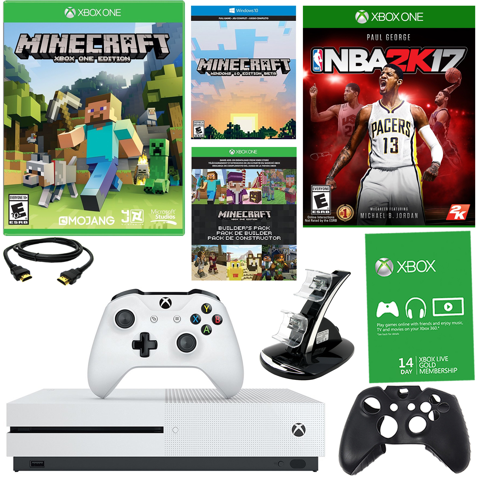 Xbox One S 500GB Minecraft Bundle With NBA 2K17 and Accessories En VeoyCompro