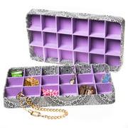 "2 Jewelry Tray 18-Section Accessory Drawer Organizer Soft Lining 16""x9""x1.75"""