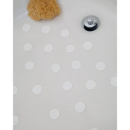 Non-Slip Bathtub & Shower Stickers - White, 1.5 Inch Discs, 28 Count (Bathtub Dye)