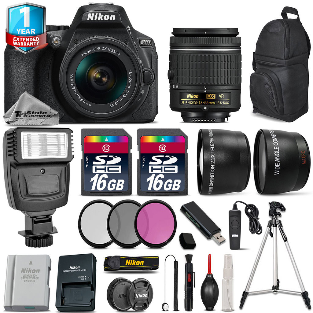Nikon D5600 DSLR Camera + 18-55mm VR + Flash + Extra Battery + 1yr Warranty