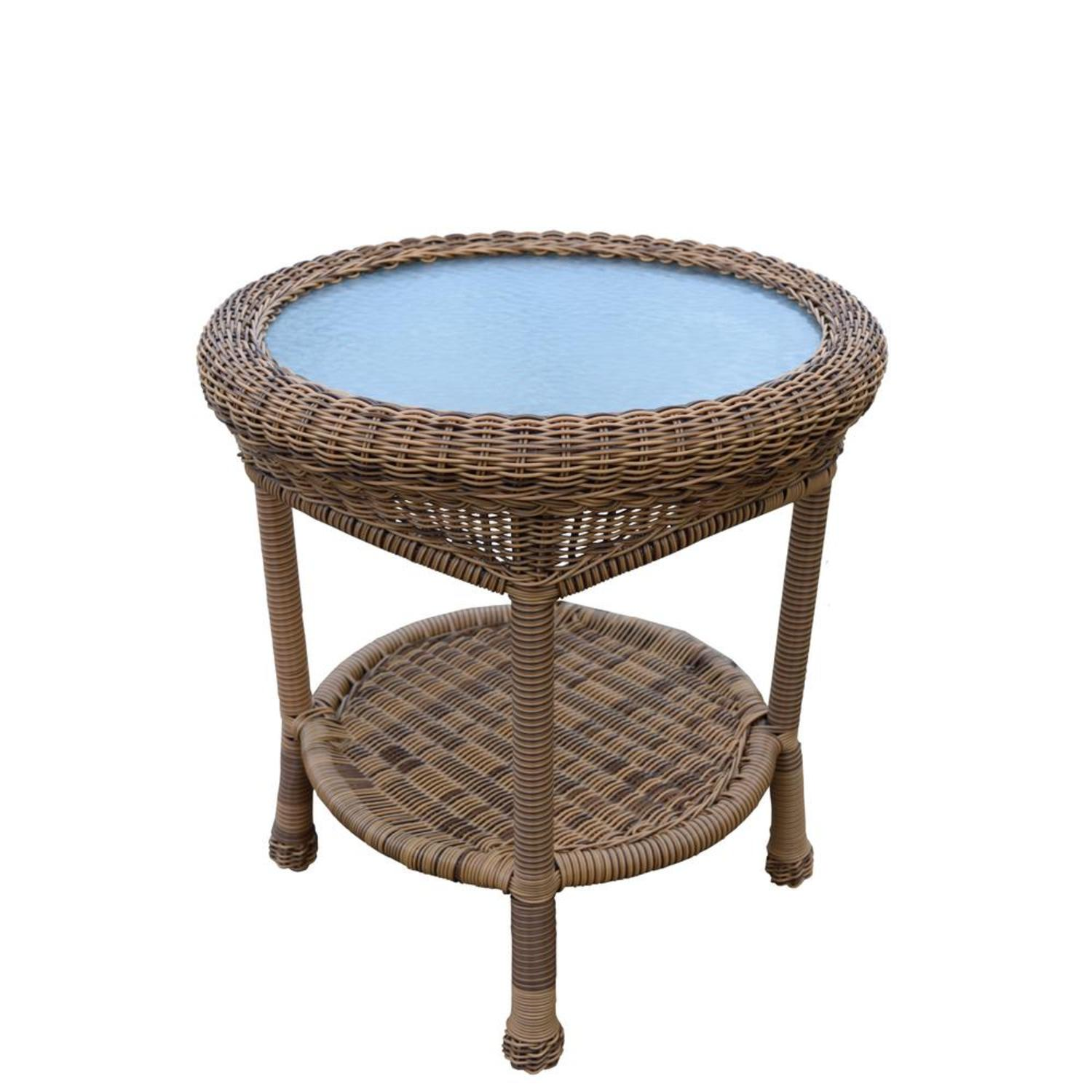 22 25 Natural Brown Two Level Resin Wicker End Table With