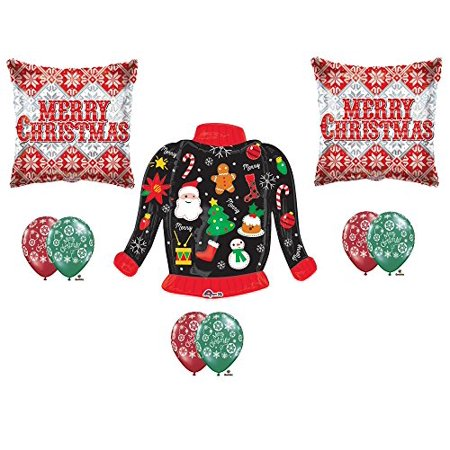 New!!! UGLY CHRISTMAS SWEATER Party Balloons Decoration Supplies 9 pieces (Xmas Party Supplies)