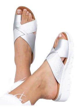 Women Open Toe Slip On Sandals Slippers Ladies Low Heels Cross Sliders Shoes Summer