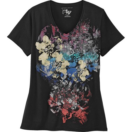 57ec51c8e3d Just My Size - Just My Size by Hanes Women s Plus-Size V-Neck Watercolor  Graphic Tee - Walmart.com