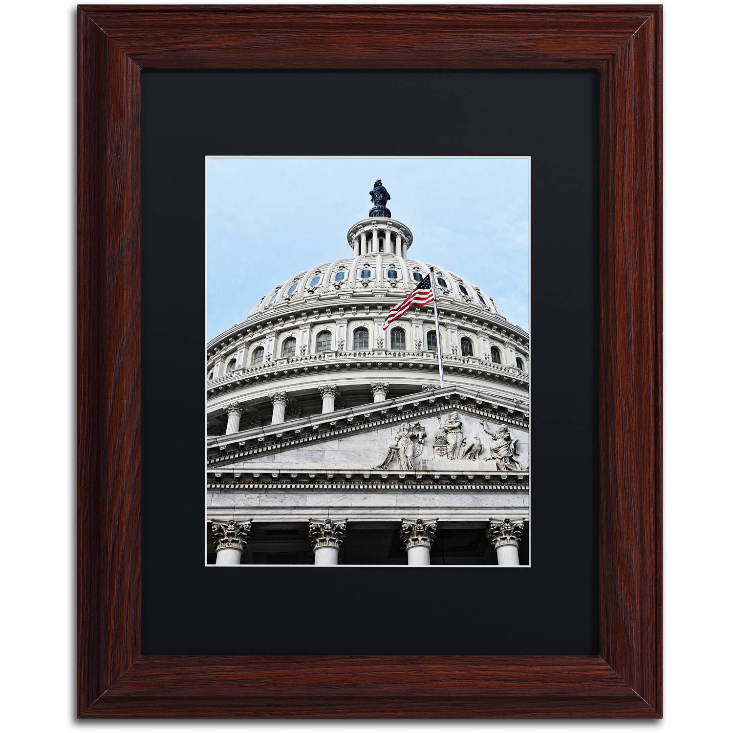 "Trademark Fine Art ""Dome of the US Capitol"" Canvas Art by Gregory O'Hanlon, Black Matte, Wood Frame"
