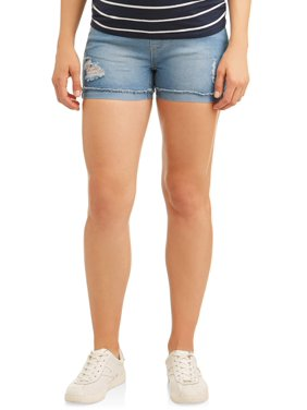 Oh! Mamma Maternity Distressed Overbelly Denim Shorts - Available in Plus Sizes