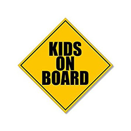 Sticker Decal ic KIDS On Board Caution Sign Shaped (Sticker Decal ic safety parent) Size: 5 x 5 in (7x7 in tip to tip) (Safety Tips For Halloween For Parents)