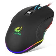 TSV Gaming Mouse Wired, 6 Buttons, 16.8million Chroma RGB Backlit, 3200 DPI Adjustable, Comfortable Grip Ergonomic Optical PC Computer Gaming Mice with Fire Button, Black