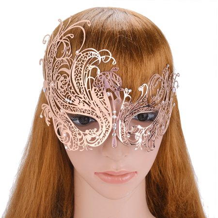 Coxeer Venetian Masquerade Mask Party Prom Laser-cut Metal Masquerade Masks for Women Girls - Masquerade Peacock Masks