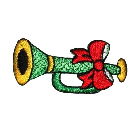 Trumpet Applique (ID 8185B Holiday Trumpet Patch Festive Horn Music Embroidered Iron On Applique)