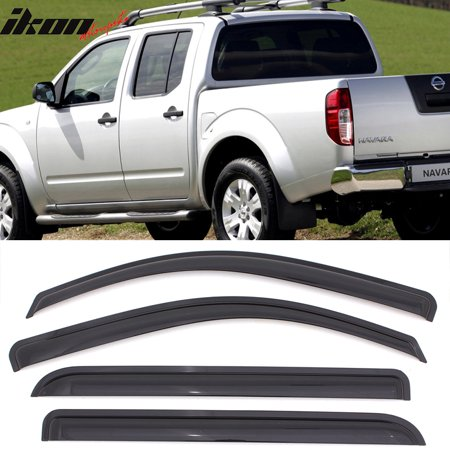 Nissan Windshield Visor - Compatible with 05-16 Nissan Frontier Crew Double Cab Acrylic Window Visors 4Pc Set