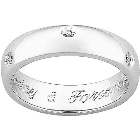 Personalized Platinum Plated Engraved Diamond Promise Band
