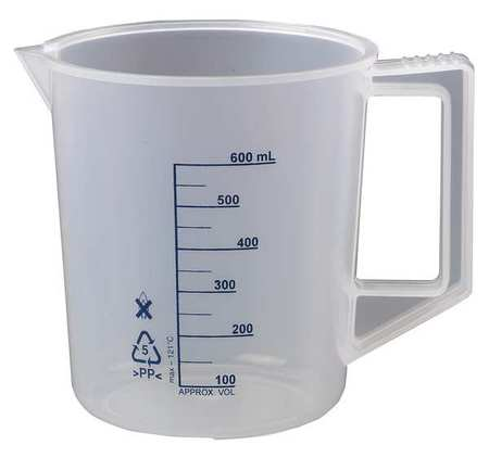 LAB SAFETY SUPPLY Beaker with Handle,600mL,PK6 23X903