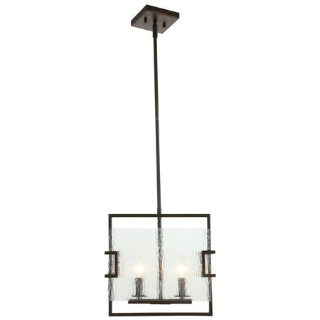 Adalynn 2-Light Black Bronze LED Pendant with Water Glass Panels