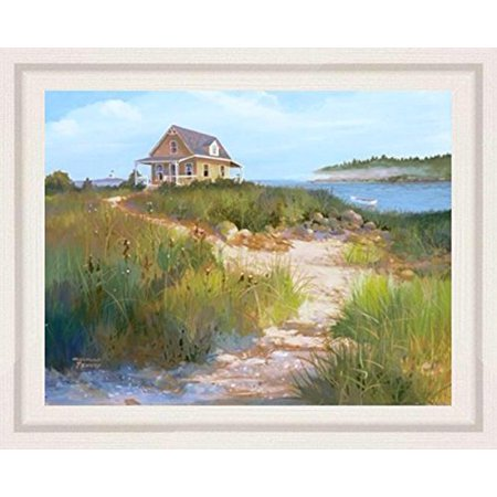 Island Ribbed (buyartforless FRAMED Island Retreat by Jacqueline Penney 28x22 Art Print Poster Coastal Beach Dunes Cottage Seaside WIDE White Ribbed Frame )