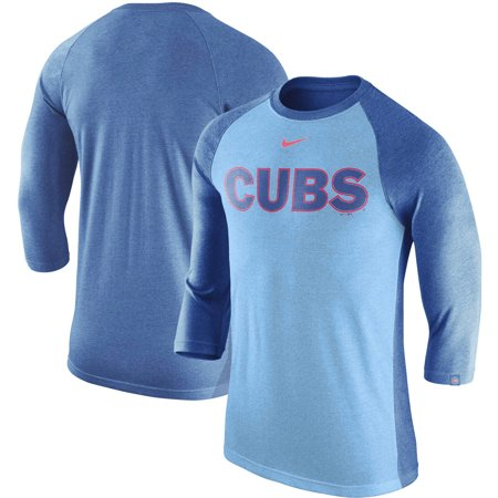 uk availability 73a98 ede25 Chicago Cubs Nike Wordmark Tri-Blend Raglan 3/4-Sleeve T-Shirt - Royal