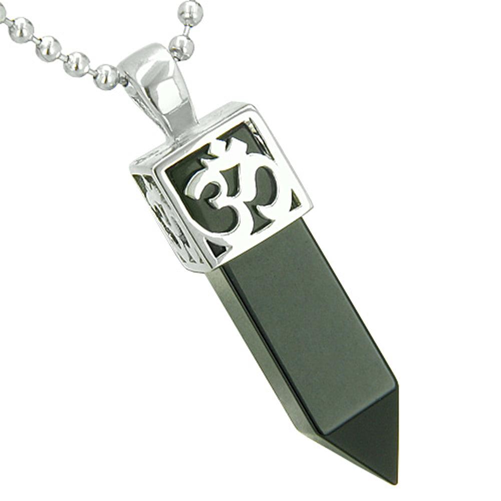 Positive Energy Secret Amulet Crystal Point Lucky Charm Simulated Black Onyx Pendant
