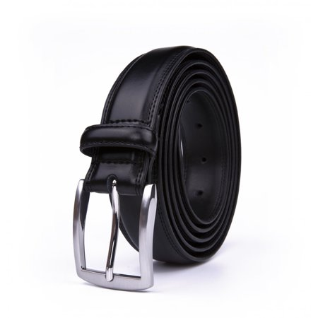 - Belt For Men, Classic 1.25-inch Wide Genuine Leather Dress Belt - Black