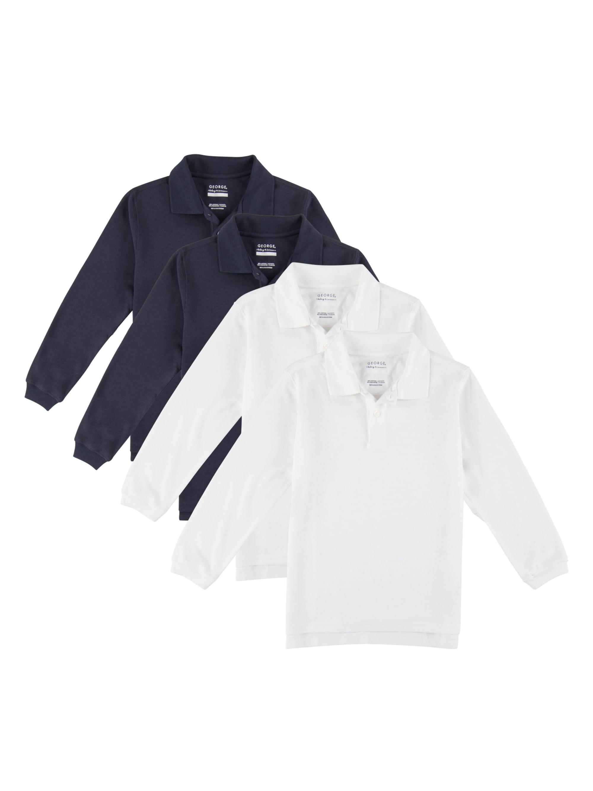 George Boys School Uniforms Long Sleeve Pique Polo Shirts 4 Pack