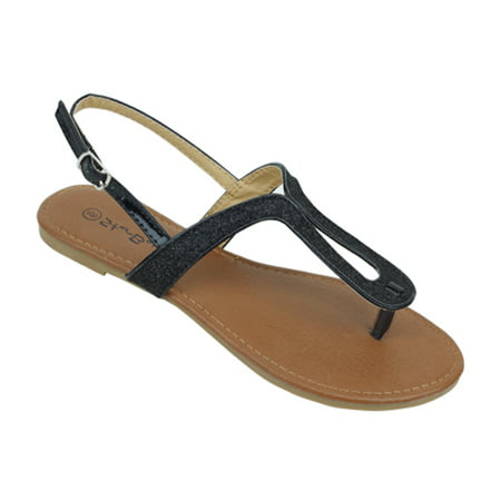 Detail T-strap Sandals - New Starbay Brand Women's Black Glitter Finish T-Strap Flat Sandals Size 10