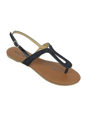 e7fe575d4ac Product Image New Starbay Brand Women s Black Glitter Finish T-Strap Flat  Sandals Size 10