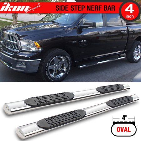 Ikon Motorsports Running Boards for 09-17 Ram 1500 2500 3500 Crew 4In Stainless Steel ()