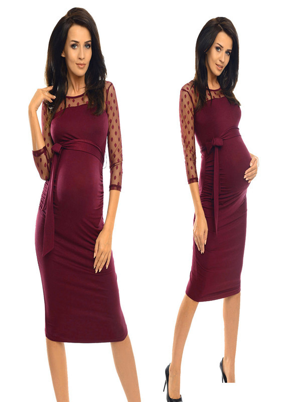 Women Maternity Ruched Bodycon Pregnancy Dress With Polka Dot Lace