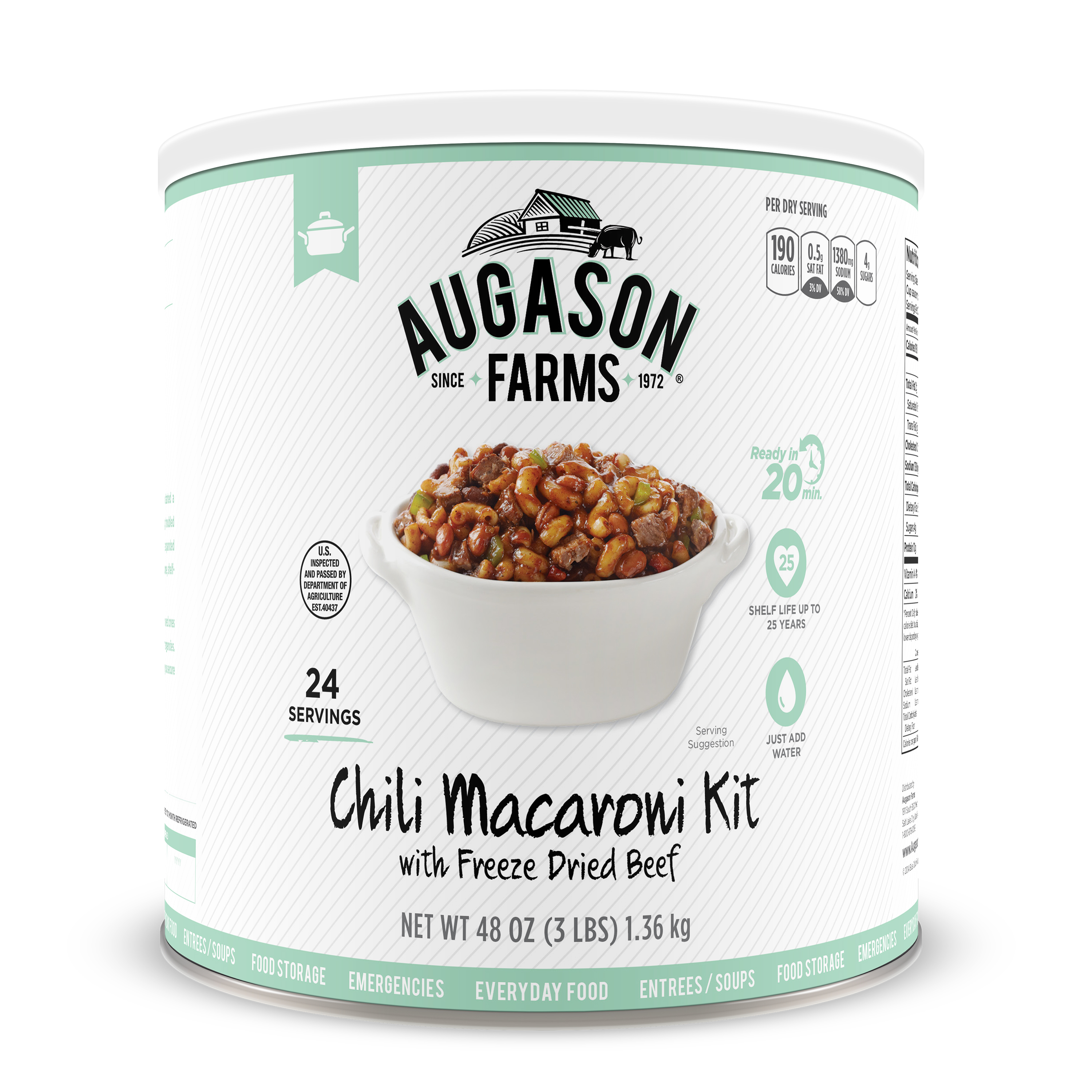 Click here to buy Augason Farms Chili Macaroni with Freeze Dried Beef 48 oz by Blue Chip Group.
