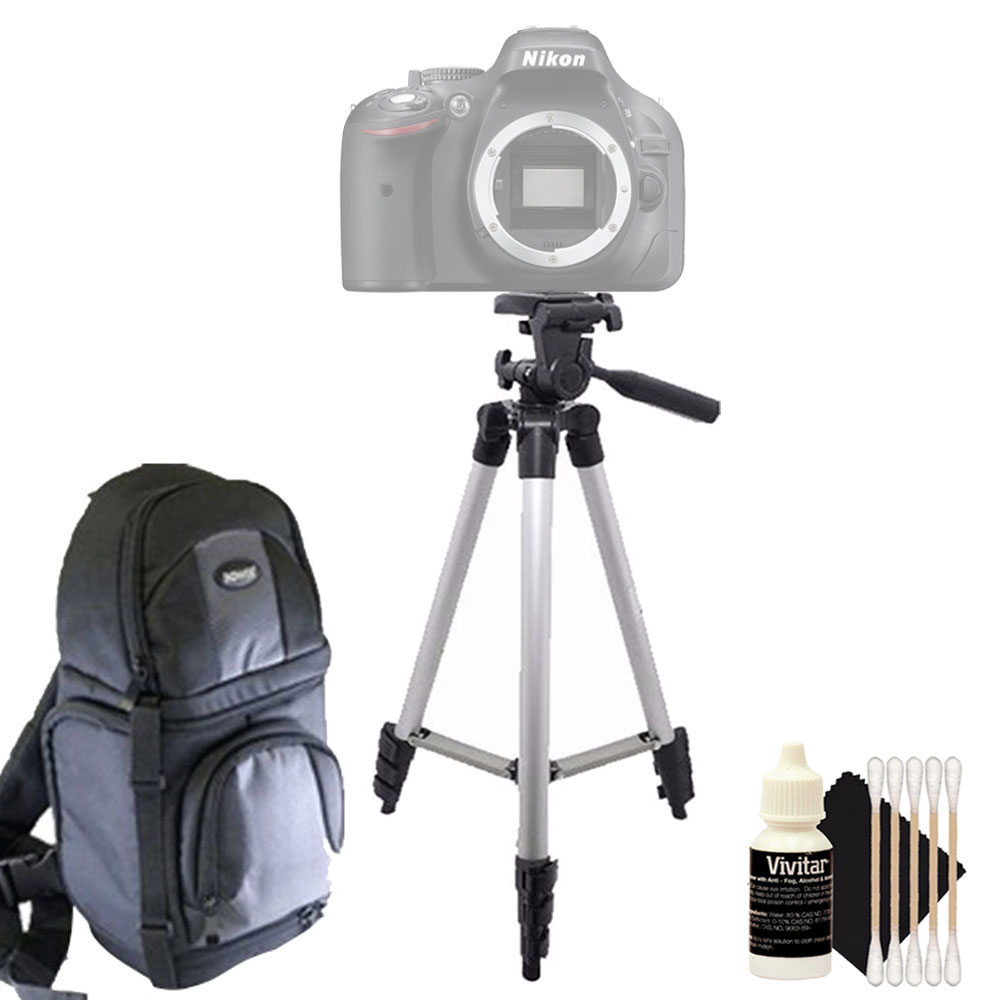 Tall Tripod with Backpack and Cleaning Accessory Kit for Nikon D500 and D5300 and All Digital Cameras