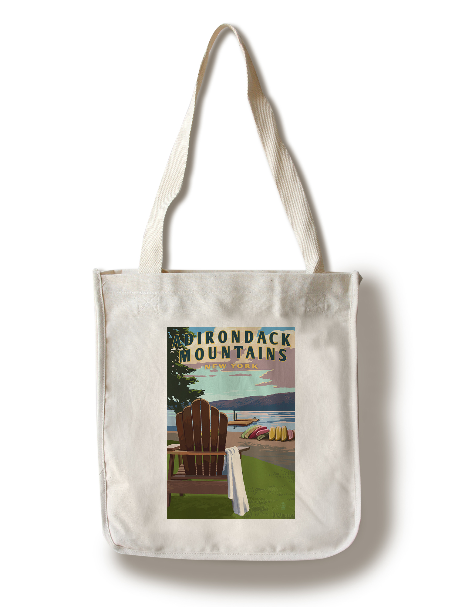 Adirondack Mountains, New York Adirondack Chair & Lake Lantern Press Artwork (100% Cotton Tote Bag Reusable) by Lantern Press
