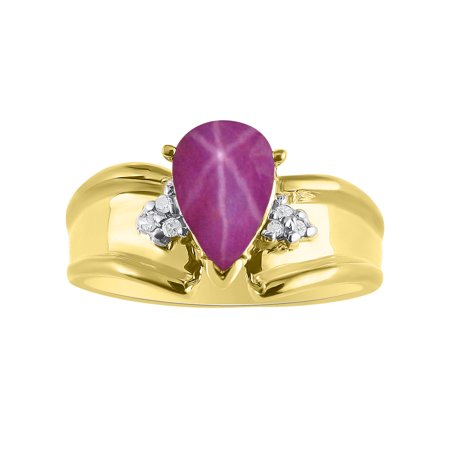 - Pear Shape Star Ruby & Diamond Ring Set In Yellow Gold Plated Silver - Color Stone Birthstone & Diamond Ring DSL-LR6821RSY