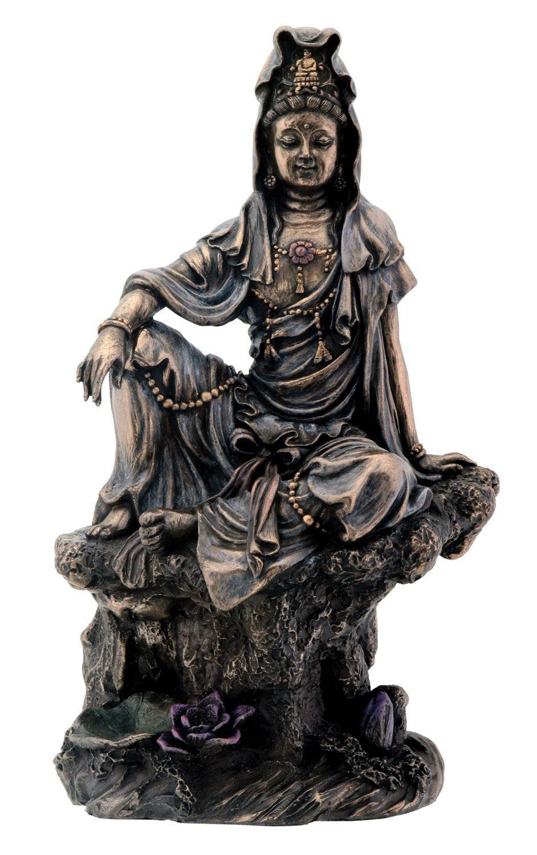 7 Inch Bronze Water And Moon Kuan Yin Buddhism Statue Figurine by YTC