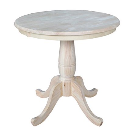 Modhaus Living Modern Style 30 Inch Wooden Round Top Pedestal Base Dining Table Natural Finish Includes Pen