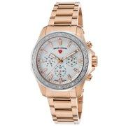 16201Sm-Rg-22-Sb Islander Diamond Multi-Fun. Rose-Tone Ss Mop Dial Silver-Tone Bezel Watch