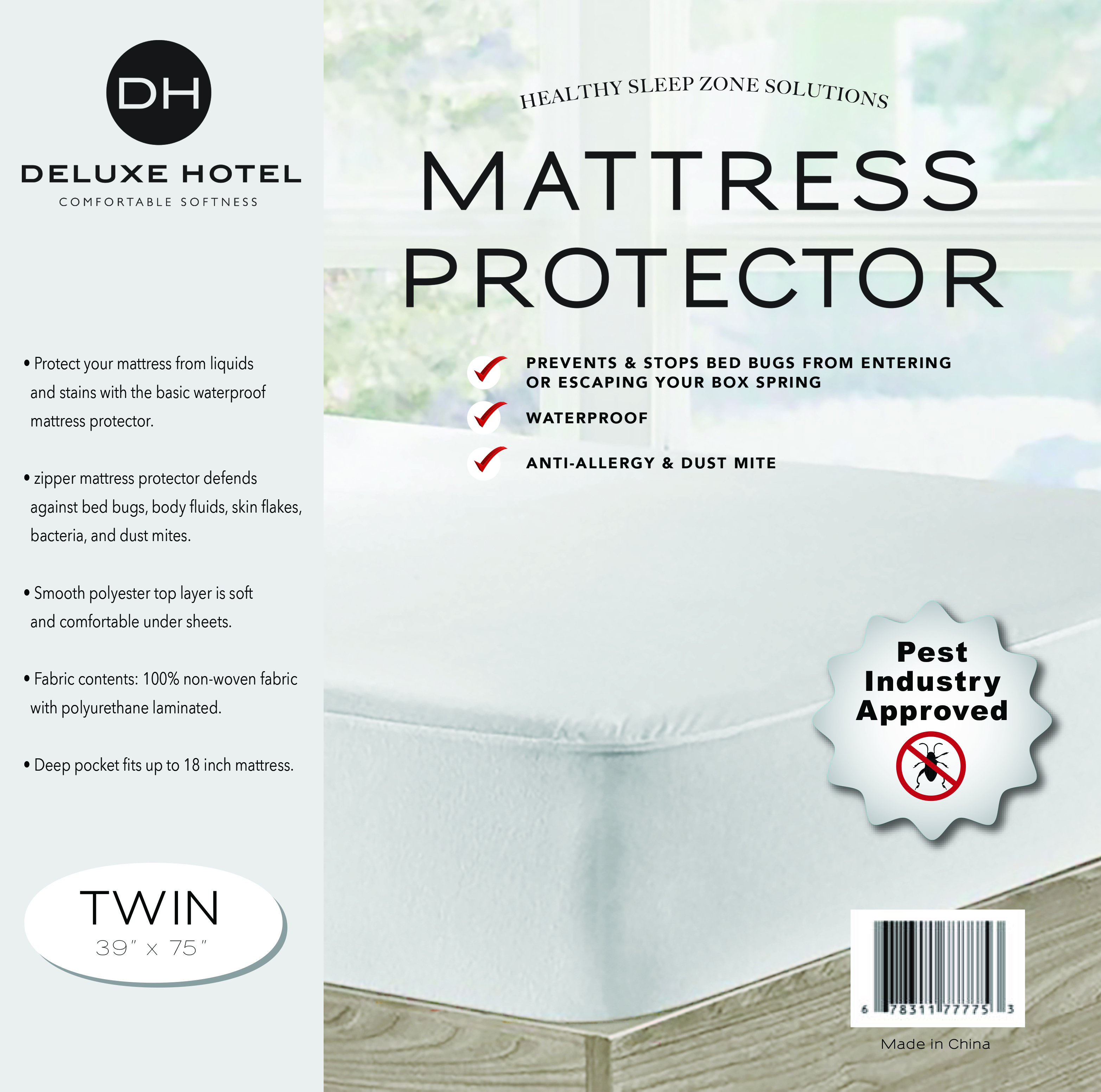 Ultimate Bed Bug Blocker Zippered Waterproof Mattress Protector ( Twin )
