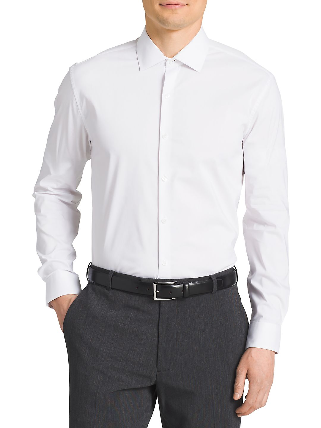 Slim-Fit Cotton-Blend Dress Shirt