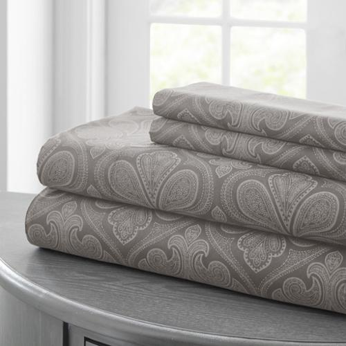 Paisley Printed 4-piece Sheet Set Queen, Gray