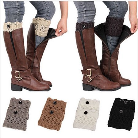 Hot Fashion Women Winter Crochet Knit Lace Trim Leg Warmers Cuffs Toppers Boot Socks New ()