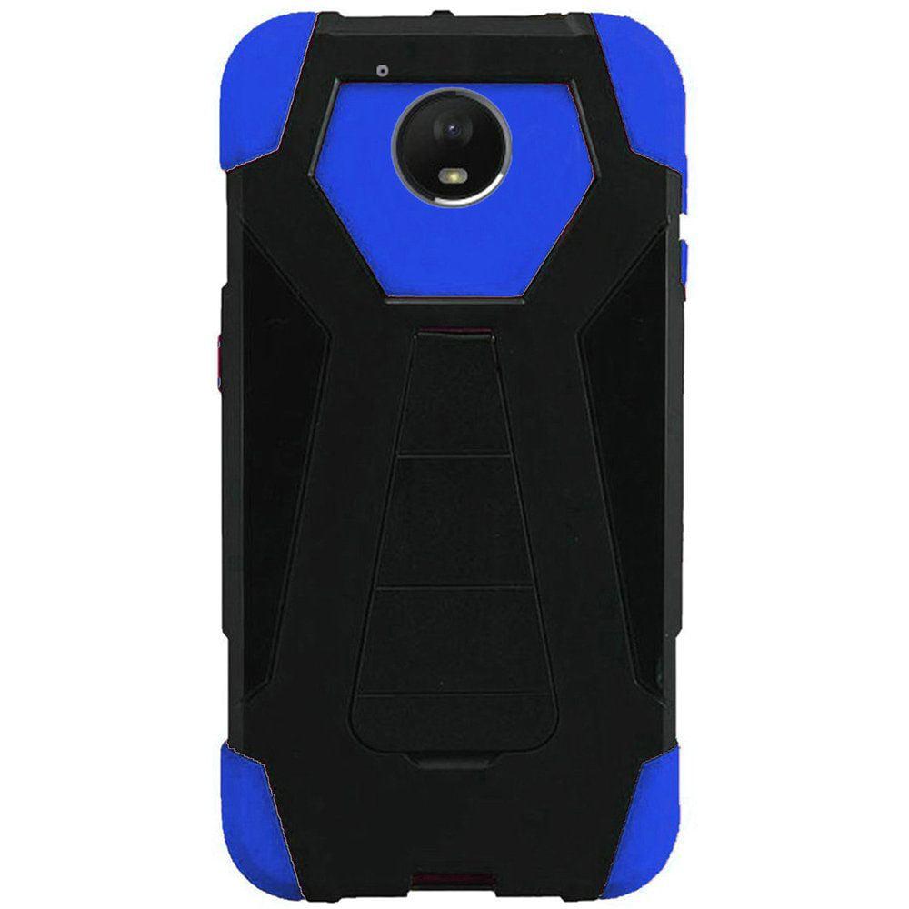 For Motorola Moto E4 Plus 4G 2017 Hybrid T Kickstand Case - Black+Dark Blue