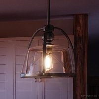 """Urban Ambiance Luxury Vintage Hanging Pendant Light, Small Size: 11""""H x 11.5""""W, with Mediterranean Style Elements, Elegant Estate Bronze Finish and Clear Glass, Includes Edison Bulb, UQL2640"""