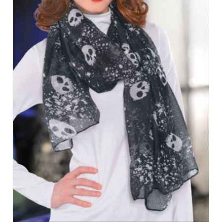 Halloween Black and White Skull Scarf