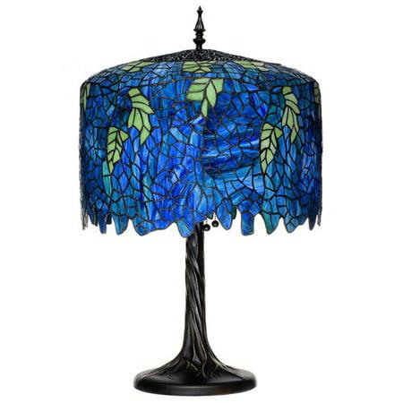 Serena d'italia Tiffany 3 light Wisteria 27 in. Table Lamp with Tree Trunk Base