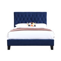 Amelia Navy Upholstered Bed with Tufted, Padded Headboard And Platform Style Base, Cal King