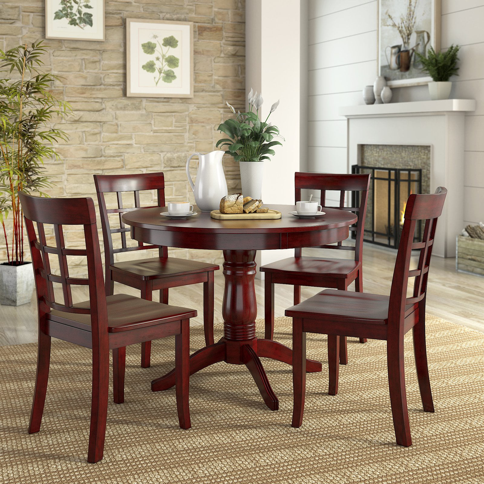 Lexington 5 Piece Wood Dining Set, Round Table and 4 ...