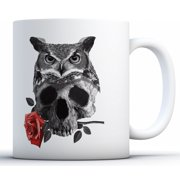 Awkward Styles Owl Mug Owl with Skull Mug Skull Coffee Mug Day of the Dead Mugs Kitchen Gifts for Her Dia de los Muertos Gifts Owl Gifts Sugar Skull Tea Cup
