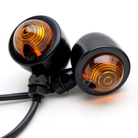 Krator Motorcycle 2 pcs Black Amber Turn Signals Lights For Victory Cross Country