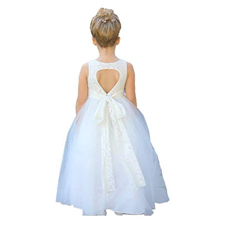 2f516a3236f Ekidsbridal Ivory Floral Lace Heart Cutout Formal Flower Girl Dress Pageant  Dresses Princess Dresses Ballroom Gown